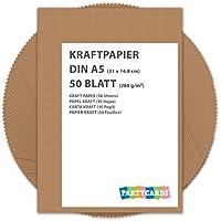 50 hojas de papel de estraza cartón kraft DIN A5 280 gr/m2 Natural en alta calidad, ideal para manualidades y DIY marrón gitano tarjetas boda invitación