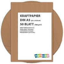 50 fogli di Carta Kraft   Kraft   DIN A5 280 gr/mq   Natura in cartone di alta qualità   Ideale per FAI DA TE E (DIY)   Marrone