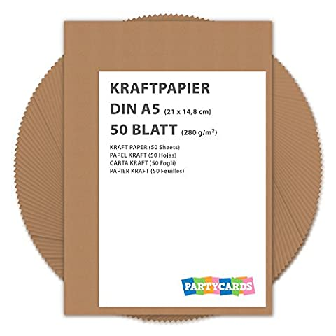 50 Sheets of Kraft Paper / Card A5 280g/m² Quality | Cardboard | Ideal for Craft and DIY / Brown