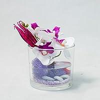 Tischgesteck mit Phalaenopsis im Glas-Tischdeko mit künstlichen Orchideen