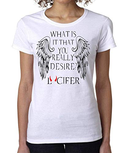 What is It That You Really Desire? Lucifer Women's T-Shirt Damen Short Sleeve Top X-Large -