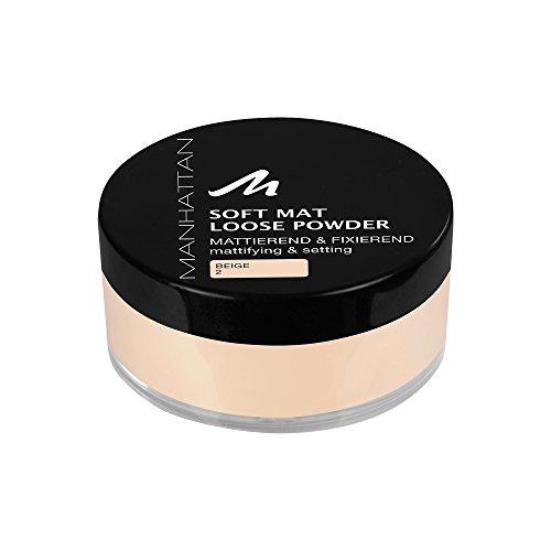 Manhattan Soft Mat Loose Powder, Loses Puder zum Mattieren und Baken des Teints, Farbe Beige 2 (1 x 20g) -