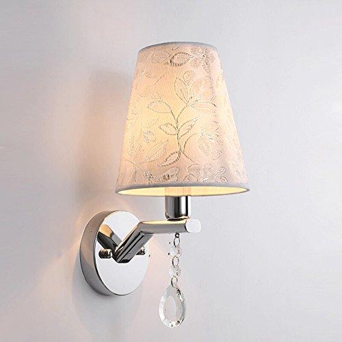 Europäischen stil stoff gestickte led wandleuchte, kann alle arten von beleuchtungsszenen, kreative retro nachtwandleuchte wohnzimmer korridor lampe höhe: 26 cm - Gestickt Kabel