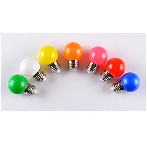 dayoly 100E27Schraube Cap 1W LED Farbige Glühbirnen Globe Lampen für Outdoor Terrasse Urlaub Party Weihnachten Dekoration Beleuchtung AC 220–240V Energiesparend, 7 Colors,...
