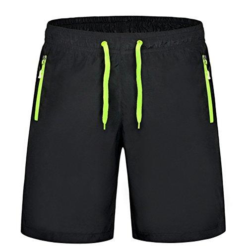 Byqny pantaloncini sportivo casual pantaloni da spiaggia sopra il ginocchio asciugatura rapida fitness in esecuzione pantaloncini da coppia verde fluorescente #uomo m