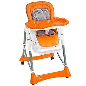 TecTake Confort Chaise Haute de Bébé Pliable - diverses couleurs au choix (Orange)