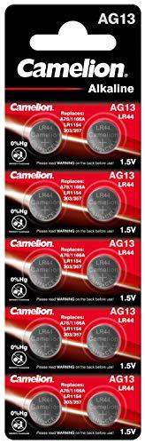 Camelion 12051013 Alkaline Knopfzellen ohne Quecksilber AG13/LR44/LR1154/357, 1,5 Volt, 10er-Pack
