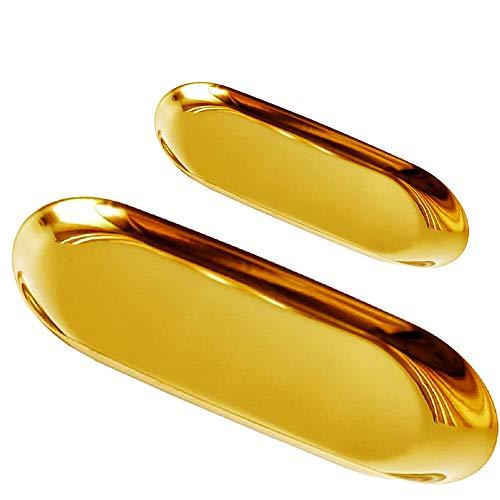 LA BELLEFÉE Metall Edelstahl SchmuckaufbewahrungTablett Jewelry Schale für Dekoration Gerüste Bilder Edelstahl Galvanotechnik Metall Tray 2 Stück -