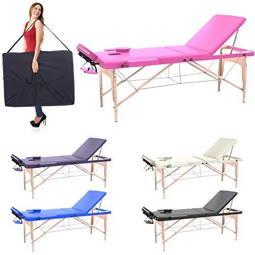 Lettino massaggio professionale 3 zone, lettino estetista in legno dimensione xl 195 x 70 cm - lettini per da massaggi portatili pieghevoli (rosa)