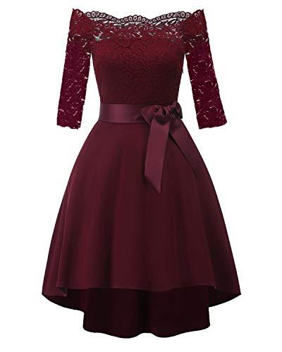 Laorchid Vintage Damen Kleid Spitzenkleid Off Schulter Cocktail Knielang A-Linie 1/2 Arm Burgundy XXL