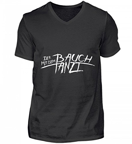 Shirtee Hochwertiges Herren V-Neck Shirt - Bauchtanz - der mit dem Bauch Tanzt - für Alle Bauchtänzer und für Alle, Die Sich Gern ein Späßchen Rund um Ihren Bauch erlauben. (Bauchtanz T-shirt)