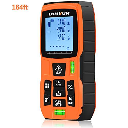 Metro Laser, Lomvum 50m Telemetro Laser, Misuratore laser digitale/Deviazione 2 mm/Calcola Area Distanza Volume/Funzione Pitagora/Funzione silenziamento / IP54 / Livello bolla integrato