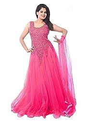 Maxthon FashionWomen's Rani Net Embroidery Anarkali Unstitched Free Size XXL Salwar Suit Dress Material (Women's Indian Clothing 2251)
