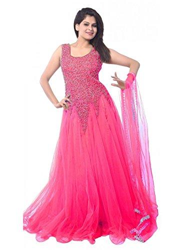 Market Magic World Women's Soft Net Semi stitched Anarkali Salwar Suits Sets (Free Size_ Rani _Dress_MMW2251)