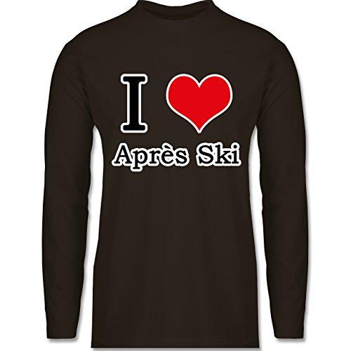 Shirtracer Après Ski - I Love Après Ski Weiße Kontur - Herren Langarmshirt Braun