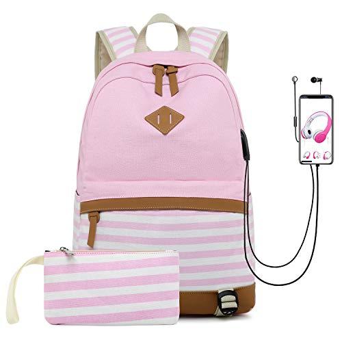 misognare College School Bookbag Canvas USB-Rucksack Casual Travel Daypack für Teen Girls und Frauen (Pink) (Rucksack Bookbag)