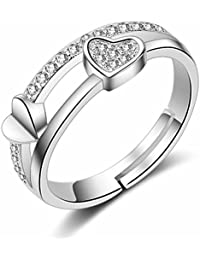 Om Jewells Rhodium Plated Adjustable Love Finger Ring with CZ Stones for Girls and Women FR1000906