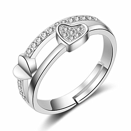 Om Jewells Silver Rhodium Plated With Cz Stones Adjustable Finger Ring For...
