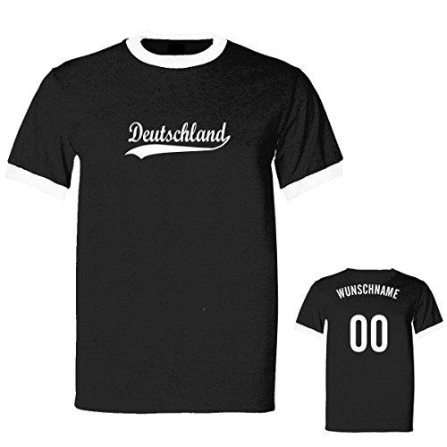 Shirtfun24 Herren RETRO 2016 EM WM Deutschland Name Nummer Ringer Fun T-Shirt, schwarz, XXL (T-shirt Kurzarm Ringer Trikot)