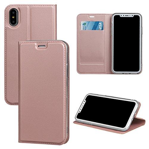 xhorizon [Fermeture magnétique][ Fente pour carte de crédit][ Pare-chocs en TPU] Coque mince de Flip Folio de portefeuille de support des cartes de credit absorbant les chocs pour iPhone X / iPhone 10 Or rose