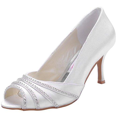 ElegangPark EP11051 Donna Satin Peep Toe Strass Tacco A Spillo Increspato Partito Scarpe Da Sposa Bianco
