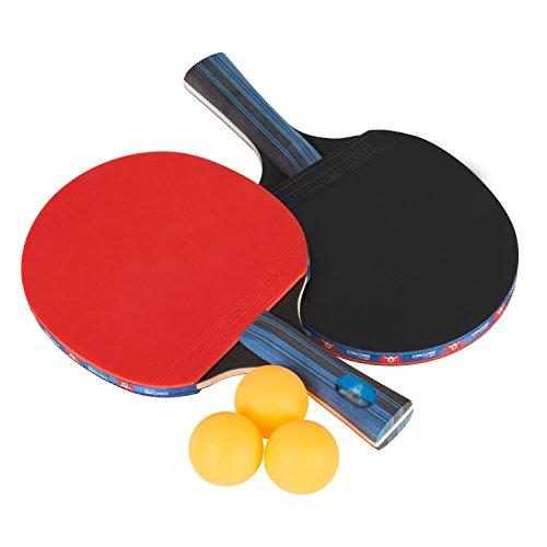 Ancees Tischtennis Set, Tischtennisschlaeger Set 2 Schläger und 3 Tischtennis-Bälle mit Tragetasche für Anfänger Hobbyspieler im Freien Innen Sportaktivitäten