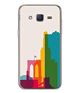 PrintVisa Designer Back Case Cover for Samsung Galaxy J3 (6) 2016 :: Samsung Galaxy J3 2016 Duos :: Samsung Galaxy J3 2016 J320F J320A J320P J3109 J320M J320Y (High rise shades different colours blue orange)