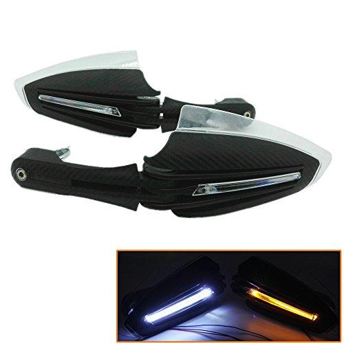 Heinmo Motorrad-Handschützer aus Carbon, mit weißen und gelben LED-Lichtern für Roller, ATV, Dirt Bike, MX