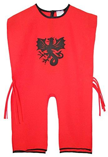 Ritter Tunika für Kinder mit Wappen Drache Rot Schwarz (Schwarz Drachen Kostüme)