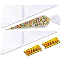 Sweet Cone Bags and Ties 100pcs Cellophane Cone Bags with 100 Gold Twist Ties for Sweets Party Crafts Snacks Candies Popcorn Chocolates Marshmallow Gifts 17 x 37cm Clear