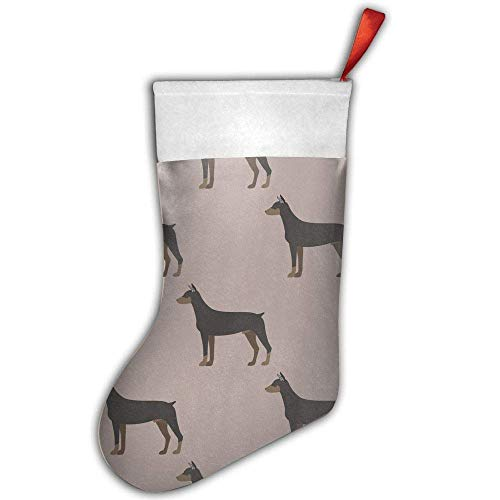 Cartoon Doberman Dog Mini Christmas Stockings Gift & Treat Bag,for Favors and Decorating