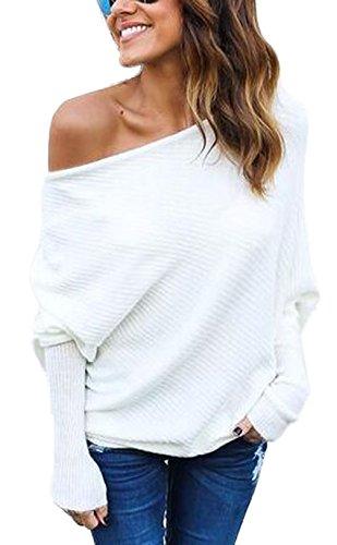 Damen Loose Fledermausärmel Sweatshirt Sexy Off Shoulder Pullover Casual Strick Oberteile Langarm T-Shirt Tops Frauen, Weiß, M