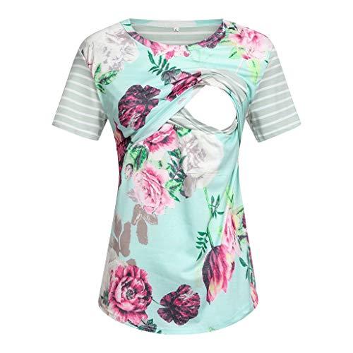Damen Kurzarm Umstandsshirt Mutterschaft Klassische Seite Geraffte T-Shirt Tops Mama Schwangerschaft Kleidung (Mint Grün,M)