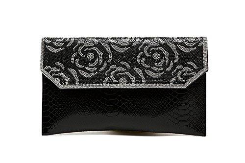 Borsa a mano, borsa a mano di diamante di moda, con un sacchetto del pacchetto di diamanti, sacchetto di spalla diagonale del diamante ( Colore : Nero ) Nero