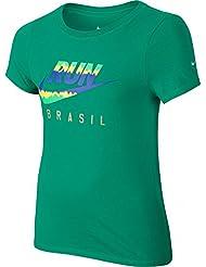 Nike Run Tee G Yth - Camiseta de manga corta para niña, color azul, talla S