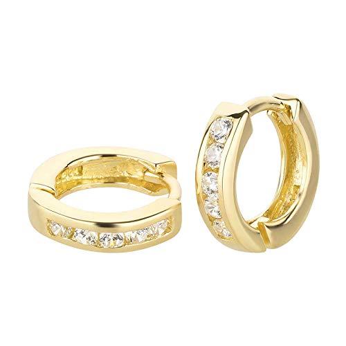 FIVE-D Ohrringe Creolen mit Kristallen Klappcreolen 925 Silber in Geschenkverpackung (Gold)
