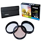 Polaroid Optics 55mm 3 Piece Special Effect Camera/Camcorder Lens Filter Kit (Soft Focus, Revolving 4 Point Star, Warming)