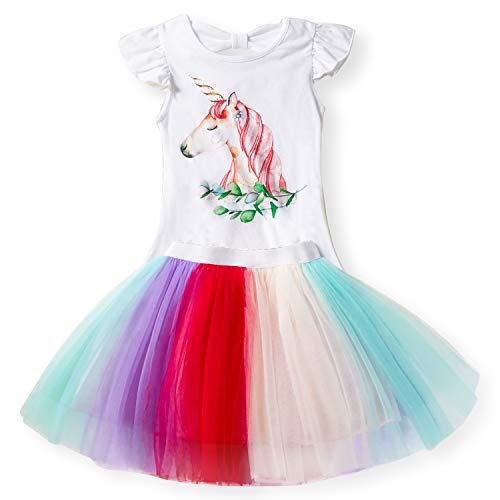 Kleine Mädchen Einhorn Casual Dress Printed Top T-Shirt + Regenbogen-Rock Größe (140) 6-7 Jahre Weiß