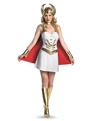 She Ra Deluxe Damen-Kostüm Masters Of The Universe-Motiv, Medium (34-36) USA 35-, Brustumfang 93.98 cm, Taille 27- 73.66 (Ra She Kostüm)
