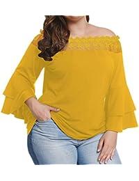 Freestyle Primavera y Otoño Mujeres Talla Grande Tops Joven Moda Cuello Barco Encaje Costura Blusa T