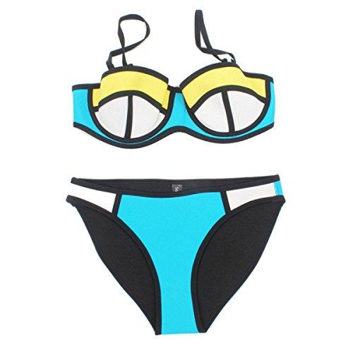 Frauen verbringen Triangel-Oberteil Bikinibadebekleidung Badeanzug Neopren Badeanzug Anzug E5