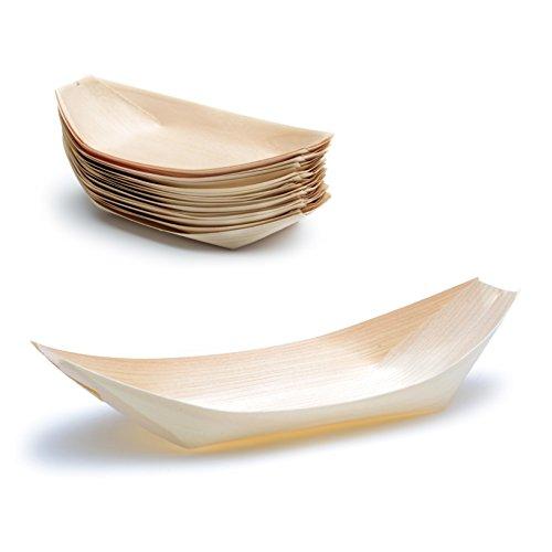 50 x Holz-Schälchen natur | 100% kompostierbar & FSC-zertifiziert | edel & dekorativ | Bio Einweg-Geschirr | Holz-Schalen perfekt für Finger-Food | Party-Geschirr Holzschiffchen (Rezept Natur Leben)