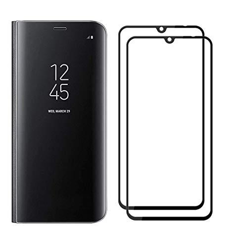 XIFAN Funda para Xiaomi Mi 9, Elegante Espejo Brillante Standing Flip Funda, Modelo Inteligente Fecha Brillante del Caso Duro para Xiaomi Mi 9, Negro + 2 Piezas Protector de Pantalla