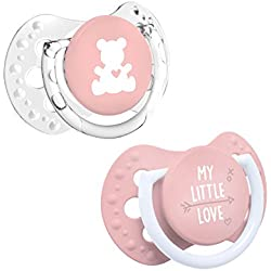LOVI My Little Love - Pack de 2 mini chupetes dinámicos, talla 0-2 meses, color rosa