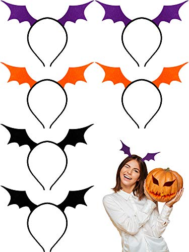WILLBOND 6 Stücke Frauen Fledermaus Flügel Stirnband Halloween Fledermau Flügel Haarband Halloween Cosplay Party Kostüm (Schwarz,Orange,Lila)
