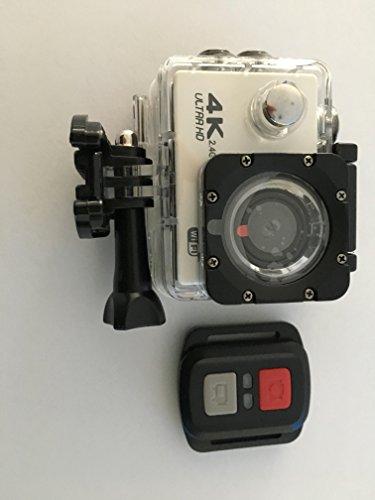 Galleria fotografica Action Cam 4K Full HD 30fps Impermeabile Schermo LCD 2 Lente Grandangolare Fish-eye 170°, Action Camera 4K Sport WIFI con Kit Accesori (bianco)