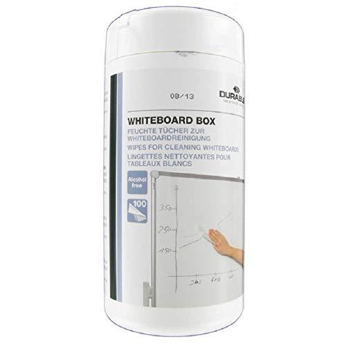 Durable 575902 Whiteboard Clean Reinigungstücher, Spenderbox à 100 Stück weiß