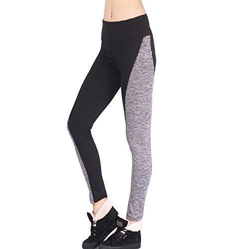 MAYOGO Damen Hohe Taille Patchwork Yoga Hose Gym Training Fitness Workout Strecken Strumpfhosen Color Block Shapewear Tights Skinny Hosen Yogahose Sportleggings