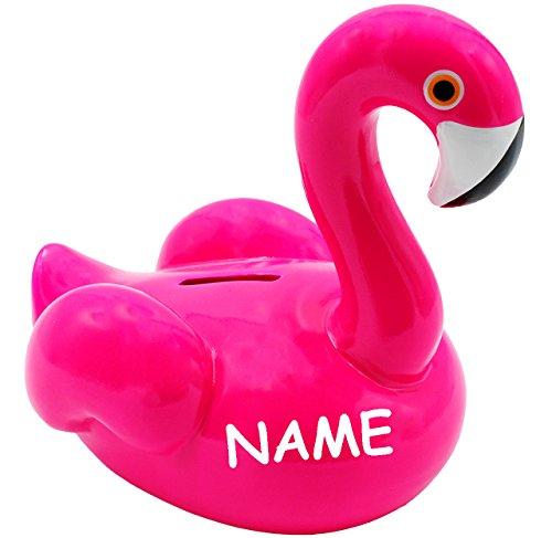 XL Spardose - ' Flamingo - NEON - rosa / pink ' - incl. Name - stabile Sparbüchse - aus Porzellan / Keramik - 17 cm - Sparschwein - für...