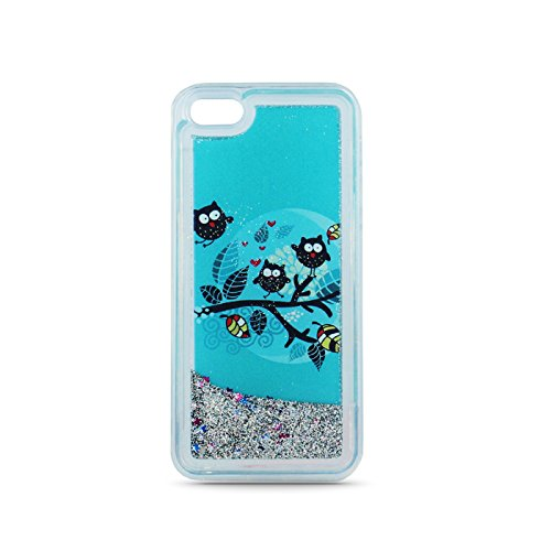 FUN CASE Eule für Apple iPhone 7 4,7 Handy Cover Hülle Case Glitzer Sterne Flüssig Sternenstaub TPU (Eule 1 blau) Eule 1 blau